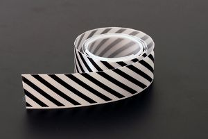 Black candy striped satin ribbon, 25mm (1 inch) or 37.5mm (1.5 inch)