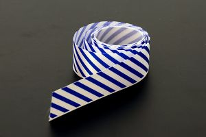 Blue candy striped satin ribbon, 25mm (1 inch) or 37.5mm (1.5 inch)
