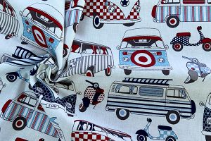 Camper van and scooter 100% cotton print, Crafty by Chatham Glynn