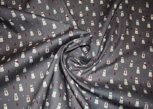 Cats on grey 100% cotton