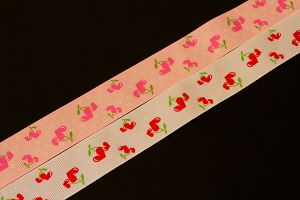 Cherry heart grosgrain ribbon, 25mm (1 inch)