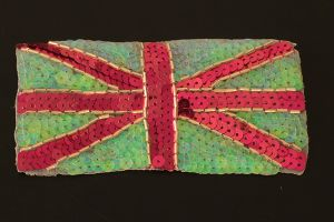 Pink and green union jack style sequin flag motif