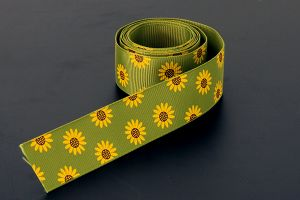 Flower Grosgrain Green/Yellow 25mm (1 inch)