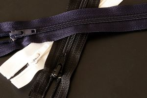 Lightweight open ended zips in white, navy and black, 254mm (10 inch) - 760mm (30 inch)