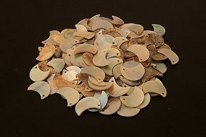 Moon crescent shaped mother of pearl buttons