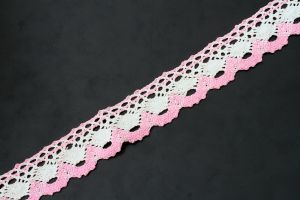 Pink and white flat, cotton lace