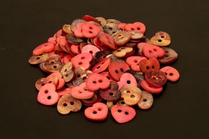 Red heart mother of pearl buttons
