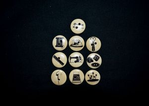Sewing themed round wooden buttons