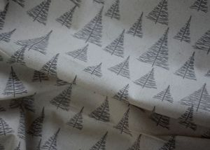 Silver trees on beige background 100% cotton