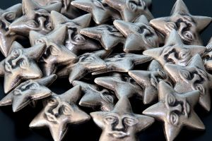 Silver star buttons