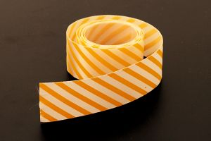 Yellow candy striped ribbon, 25mm (1 inch) or 37.5mm (1.5 inch)